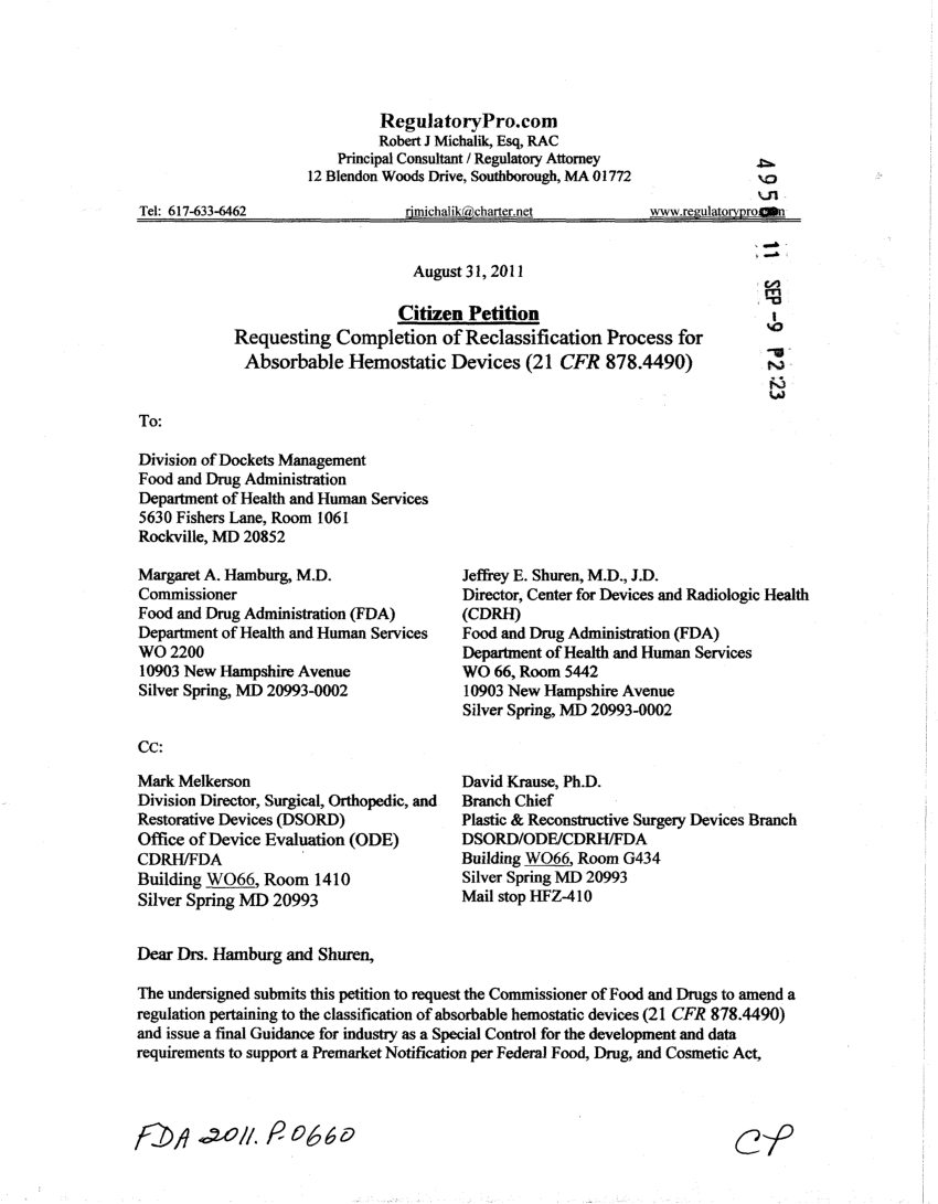 PDF Example of FDA Citizen Petition per 21 CFR 1030  Down Classification of Medical