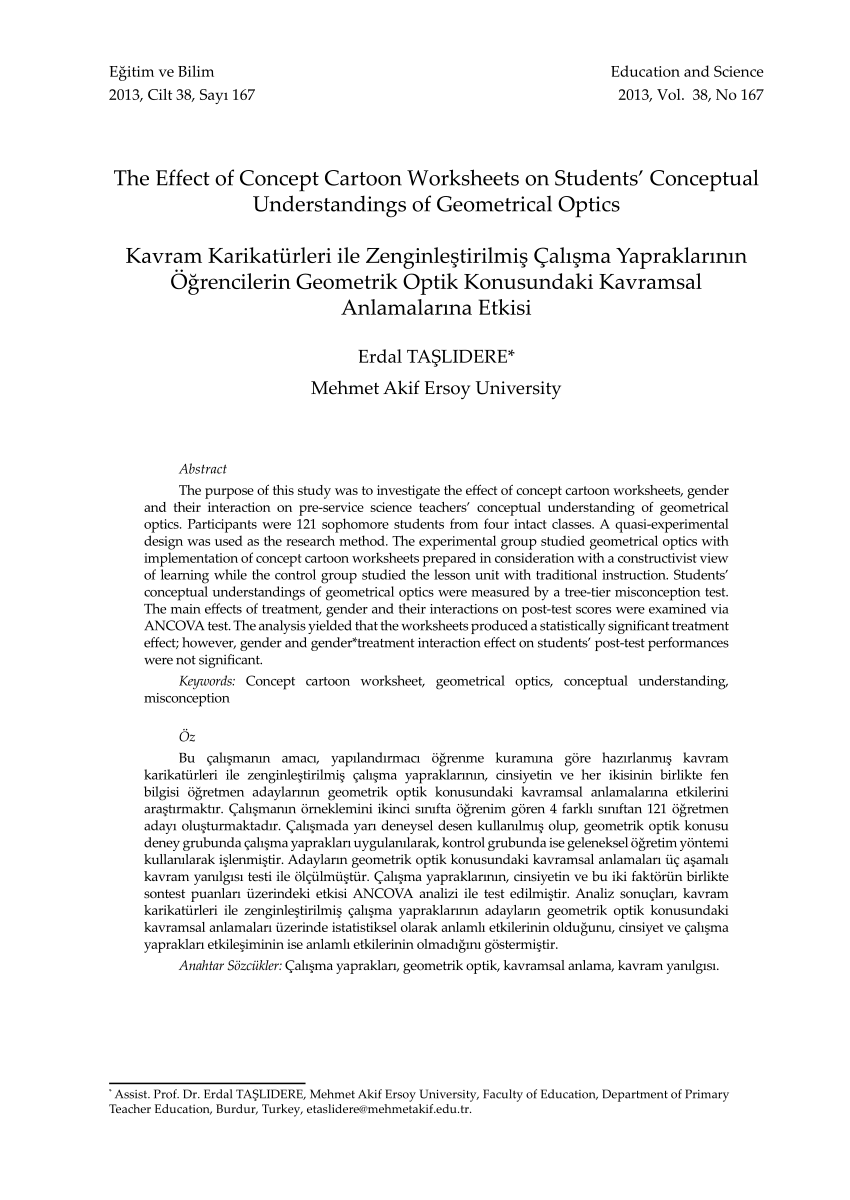 medium resolution of PDF) The Effect of Concept Cartoon Worksheets on Students' Conceptual  Understandings of Geometrical Optics