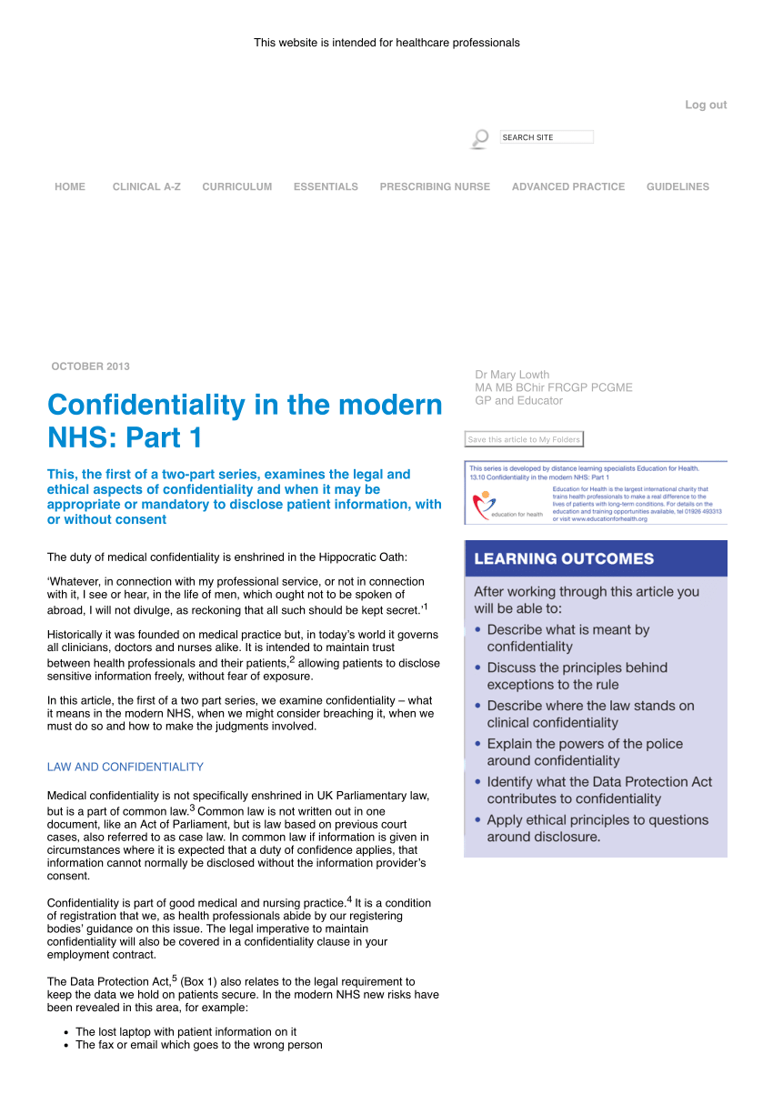 (Pdf) Confidentiality In The Modern Nhs: Part 1