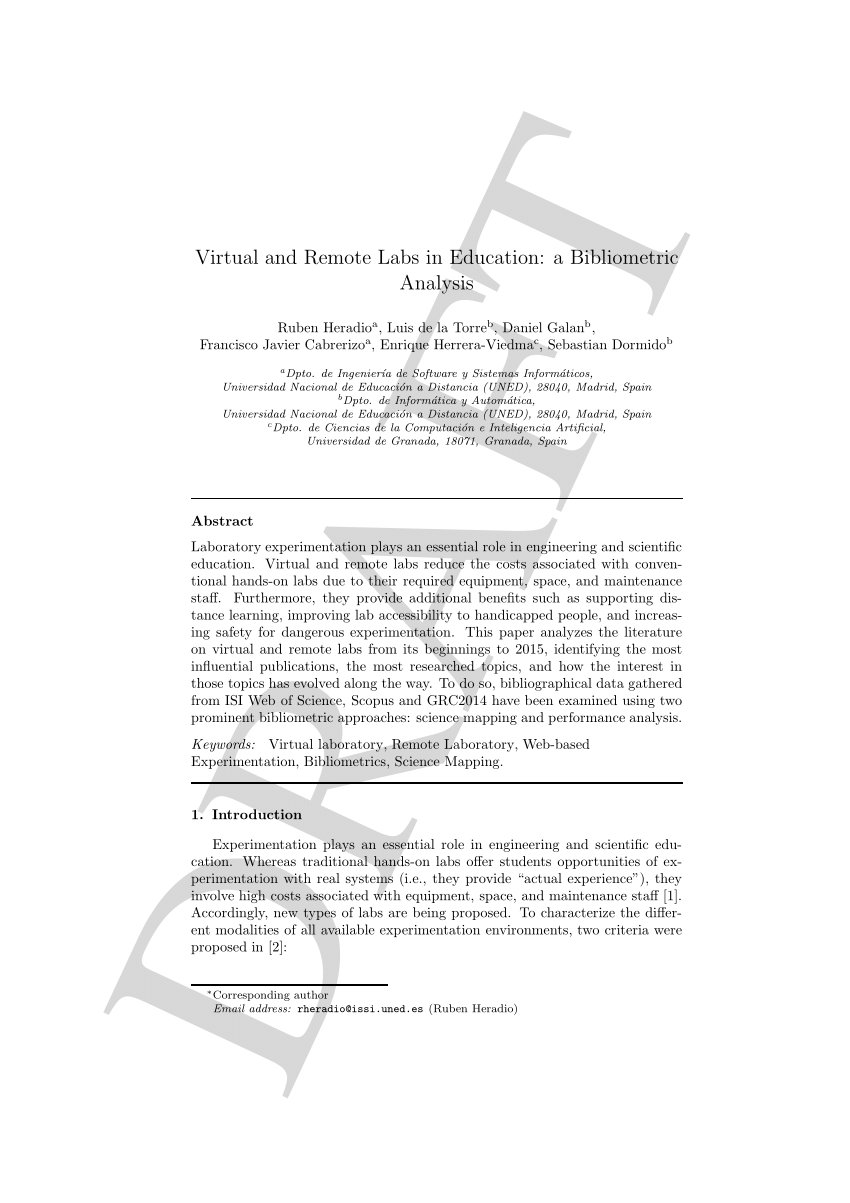 (PDF) Virtual and Remote Labs in Education: a Bibliometric