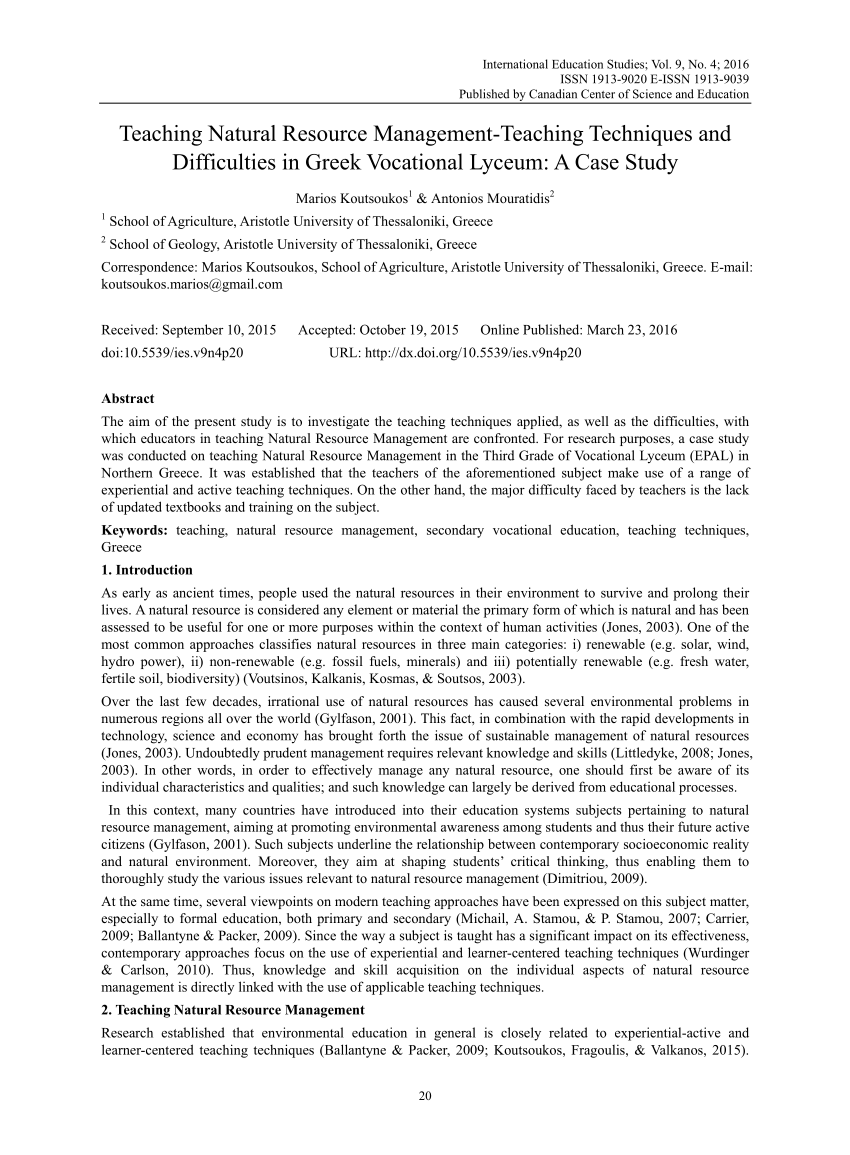 hight resolution of PDF) Teaching Natural Resource Management-Teaching Techniques and  Difficulties in Greek Vocational Lyceum: A Case Study