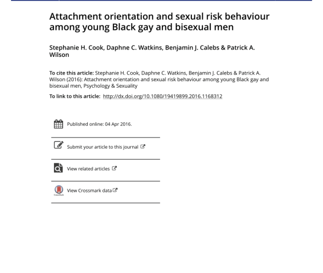 Pdf Attachment Orientation And Sexual Risk Behaviour Among Young Black Gay And Bisexual Men