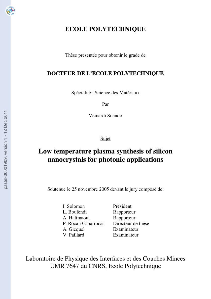 medium resolution of  pdf physico chimie des plasmas de silane pour la formation de nacocristaux de silicium a temp tature ambiante application des dispositifs