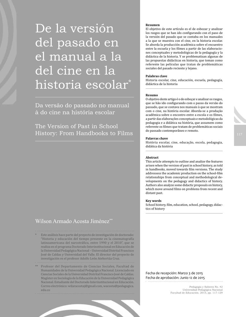 (PDF) De la versión del pasado en el manual a la del cine
