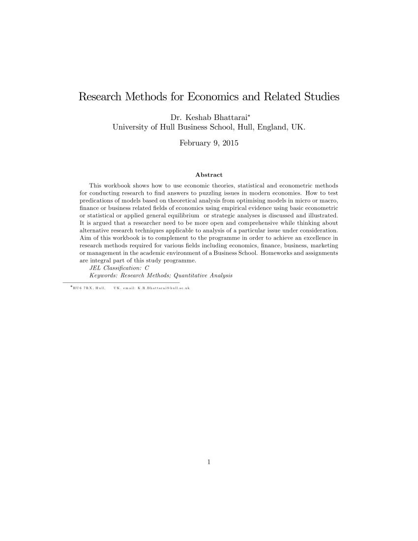 PDF Research Methods For Economics