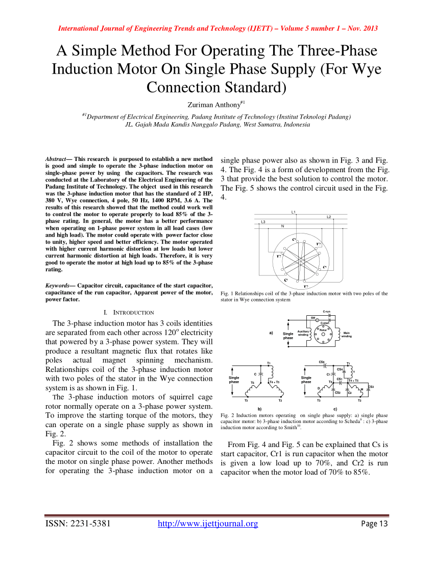 medium resolution of  pdf a capacitor start three phase induction motor