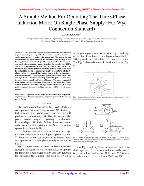 small resolution of  pdf a capacitor start three phase induction motor