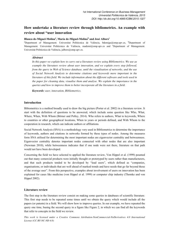 PDF) How undertake a literature review through Bibliometrics. An