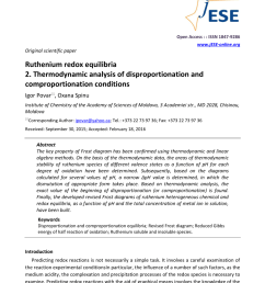 pdf ruthenium redox equilibria 2 thermodynamic analysis of disproportionation and comproportionation conditions [ 850 x 1202 Pixel ]
