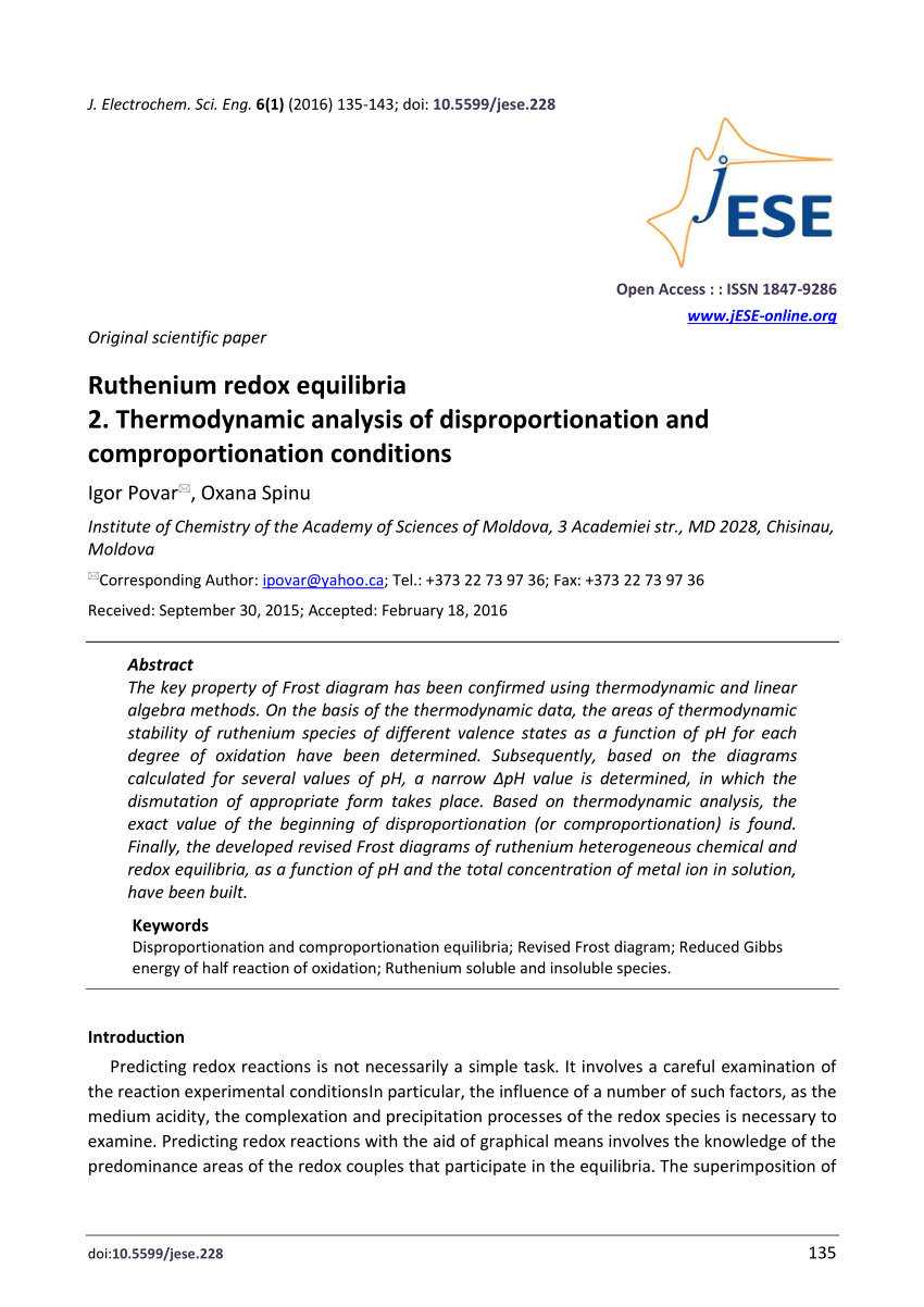 medium resolution of  pdf ruthenium redox equilibria 2 thermodynamic analysis of disproportionation and comproportionation conditions