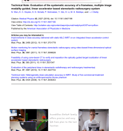 pdf technical note evaluation of the systematic accuracy of a frameless multiple image modality guided linear accelerator based stereotactic  [ 850 x 1134 Pixel ]