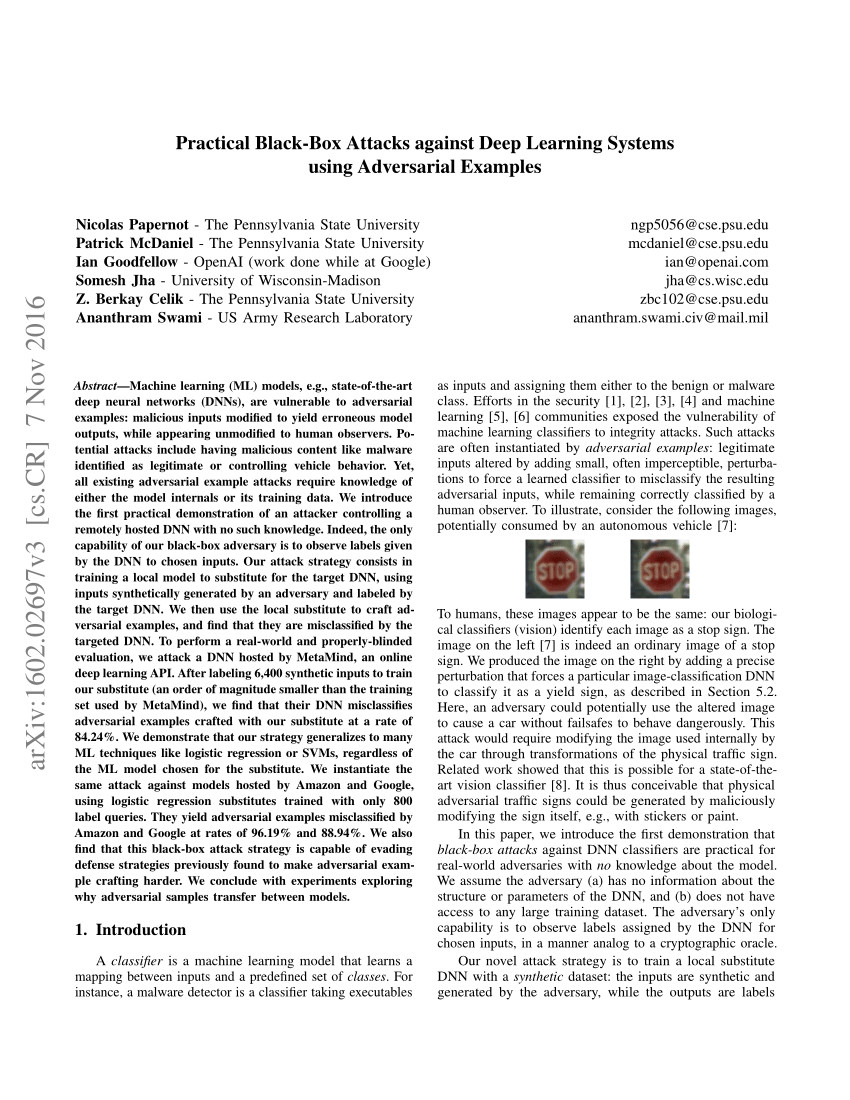 (PDF) Practical Black-Box Attacks against Deep Learning Systems using Adversarial Examples