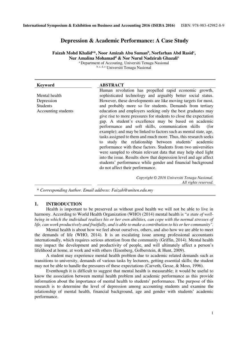 PDF Depression & Academic Performance A Case Study