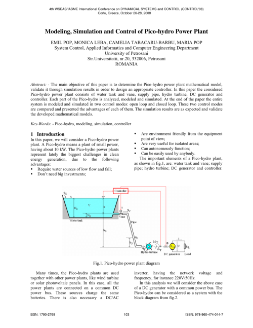 small resolution of  pdf modeling simulation and control of pico hydro power plant