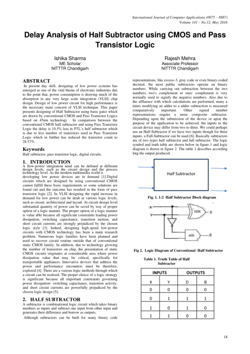 small resolution of  pdf delay analysis of half subtractor using cmos and pass transistor logic