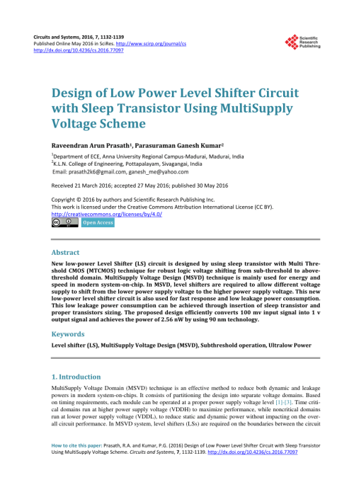 small resolution of  pdf design of low power level shifter circuit with sleep transistor using multisupply voltage scheme
