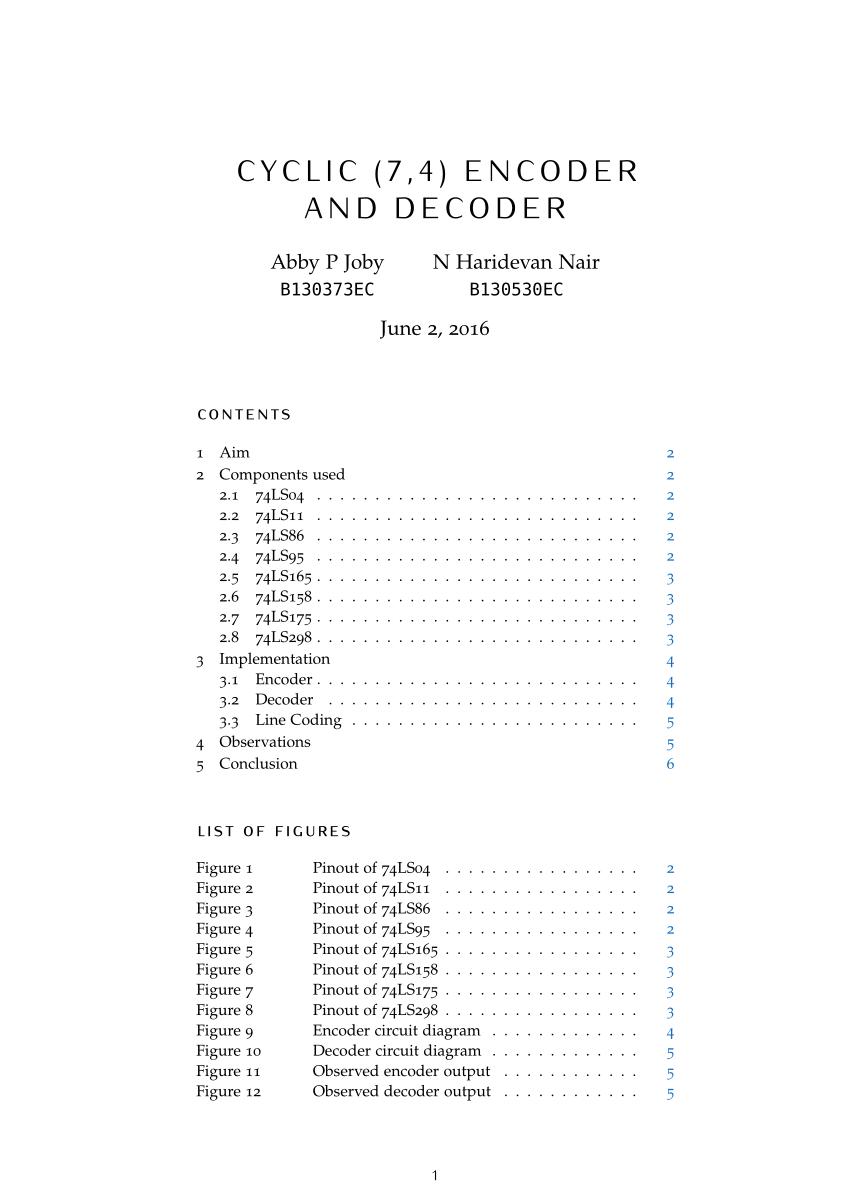 medium resolution of  pdf cyclic 7 4 encoder and decoder hardware implementation