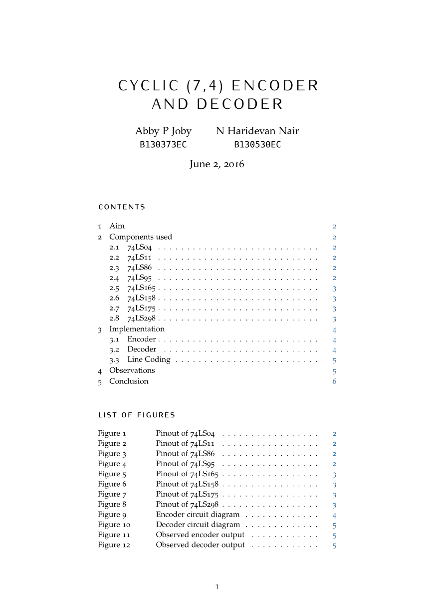 hight resolution of  pdf cyclic 7 4 encoder and decoder hardware implementation