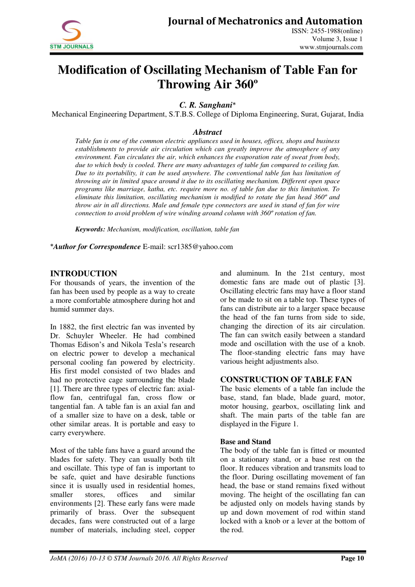 medium resolution of  pdf modification of oscillating mechanism of table fan for throwing air 360
