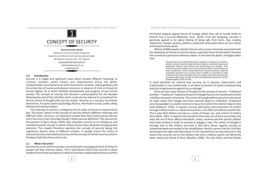 (PDF) Concept of Security