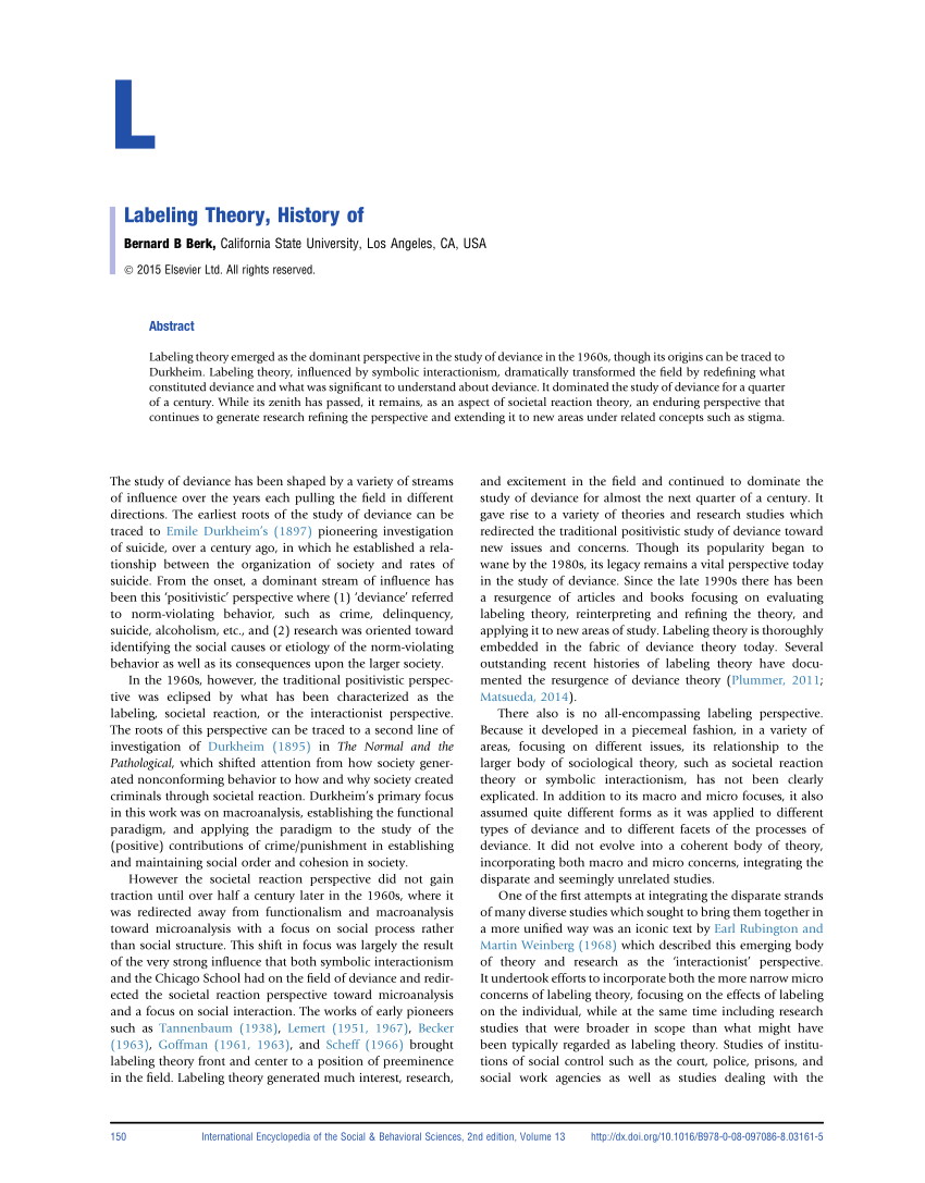 (PDF) Labeling Theory, History of