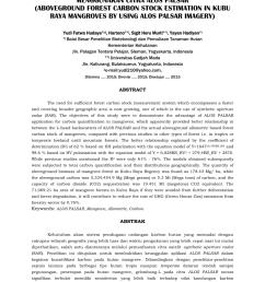 pdf pendugaan potensi cadangan karbon di atas permukaan pada hutan mangrove di kubu raya menggunakan citra alos palsar aboveground forest carbon stock  [ 850 x 1203 Pixel ]