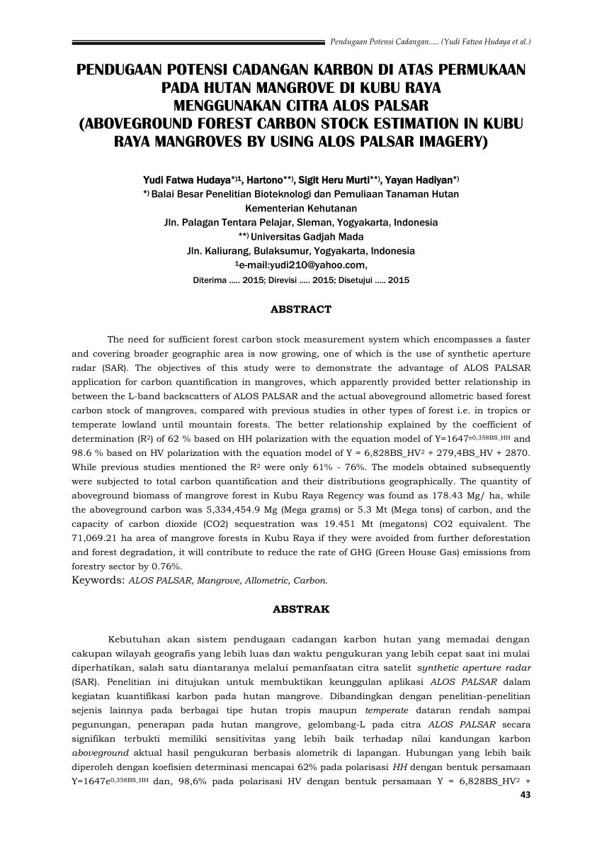 medium resolution of  pdf pendugaan potensi cadangan karbon di atas permukaan pada hutan mangrove di kubu raya menggunakan citra alos palsar aboveground forest carbon stock
