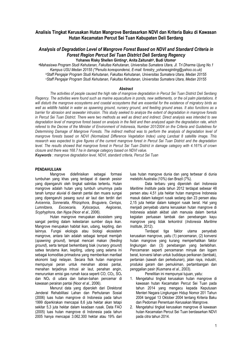 medium resolution of  pdf analysis of degradation level of mangrove forest based on ndvi and standard criteria in forest region percut sei tuan district deli serdang regency