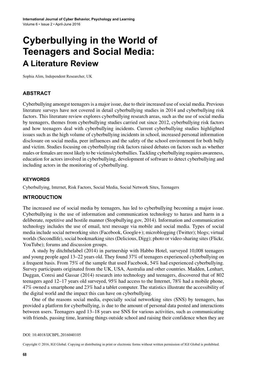 Papers On Cyber Bullying Research Paper – Cyberbullying