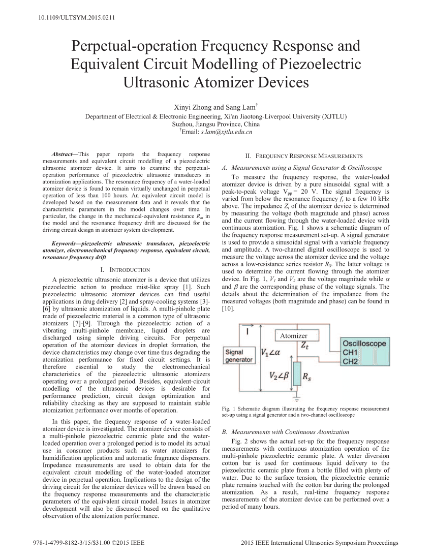 hight resolution of  pdf perpetual operation frequency response and equivalent circuit modelling of piezoelectric ultrasonic atomizer devices