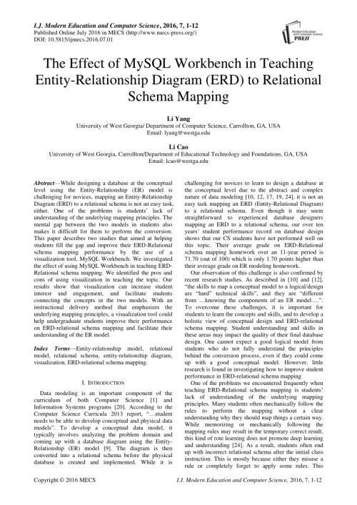 small resolution of  pdf the effect of mysql workbench in teaching entity relationship diagram erd to relational schema mapping