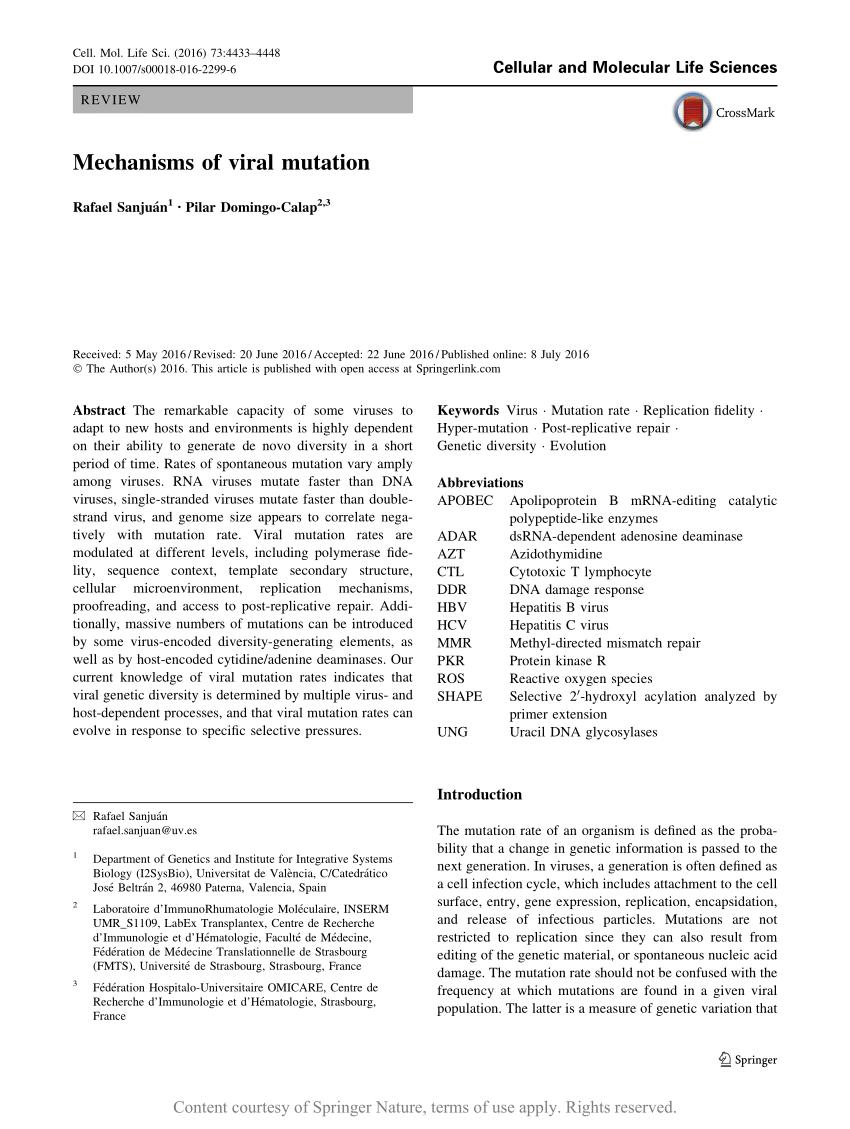 pdf mechanisms of viral mutation