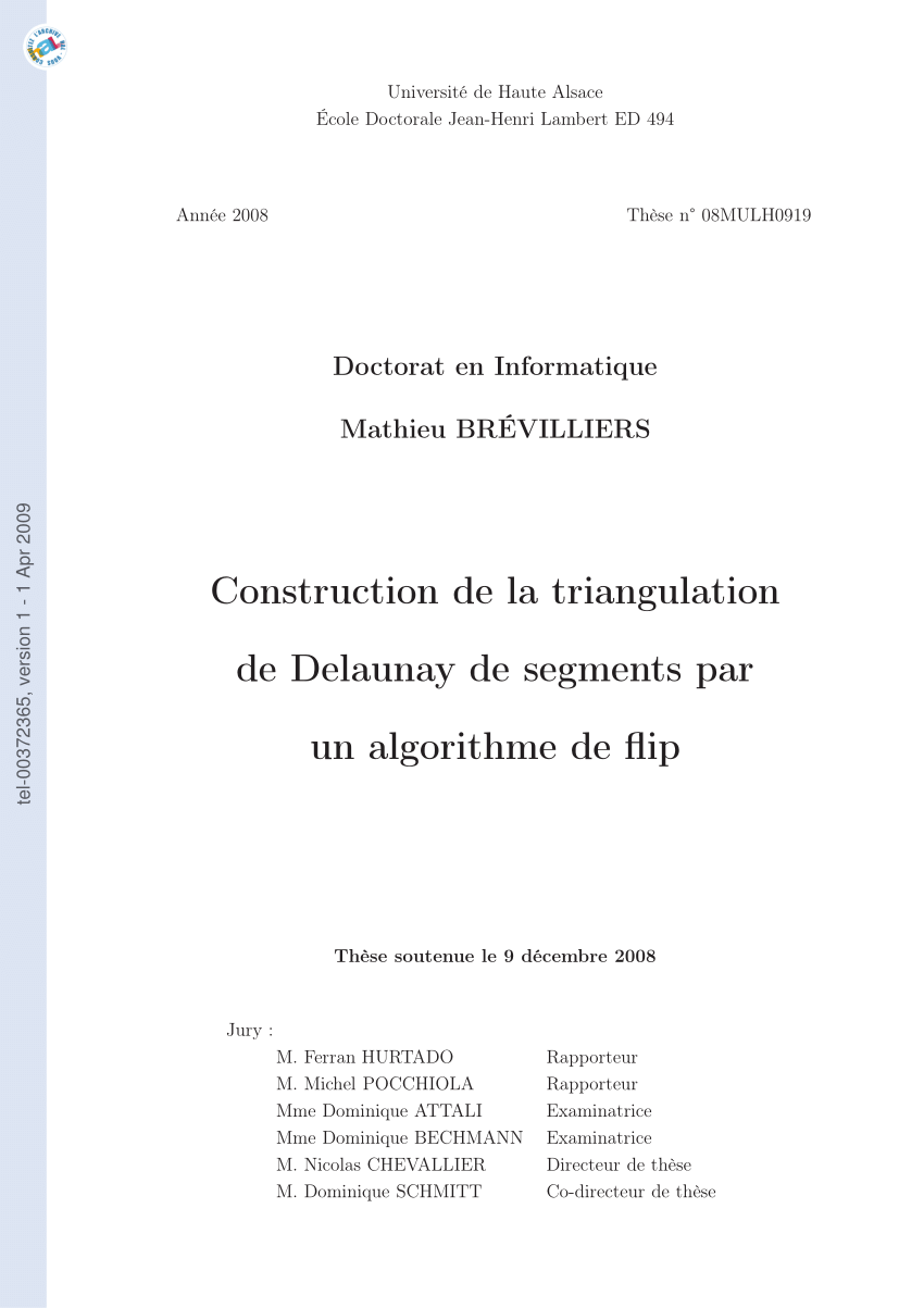 hight resolution of  pdf construction de la triangulation de delaunay de segments par un algorithme de flip