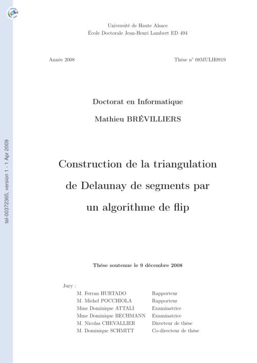 small resolution of  pdf construction de la triangulation de delaunay de segments par un algorithme de flip