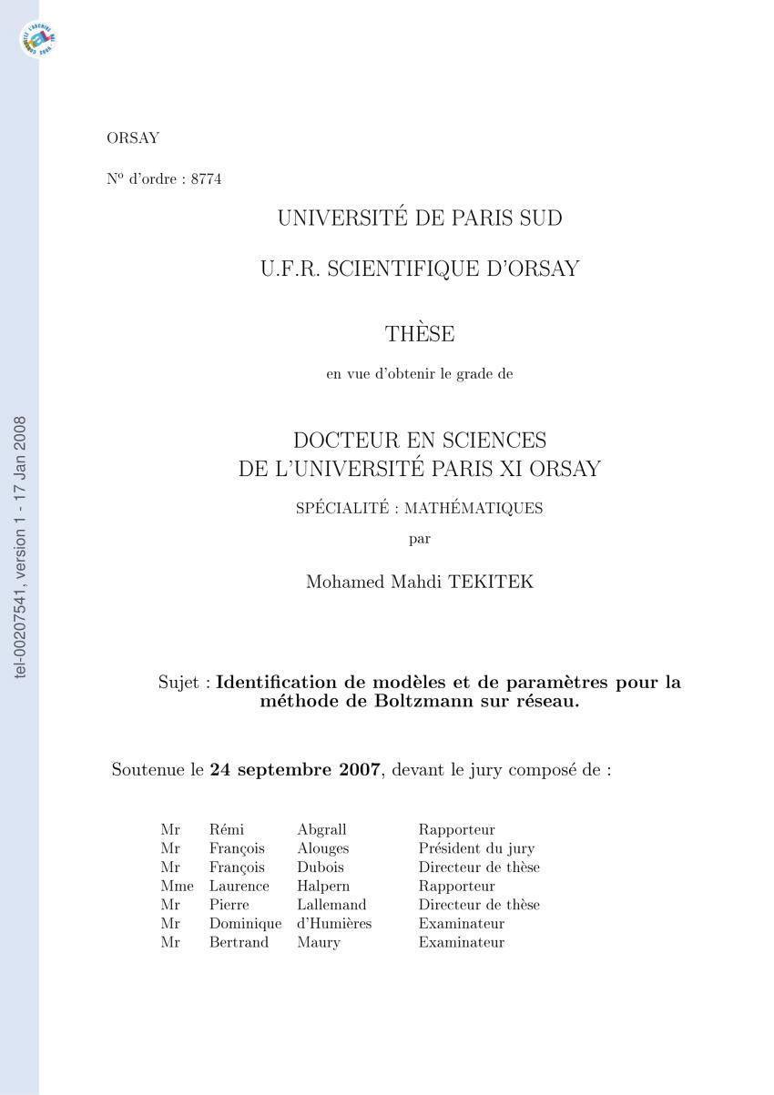 medium resolution of  pdf identification de mod les et de param tres pour la m thode de boltzmann sur r seau