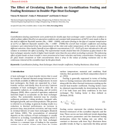 pdf the effect of circulating glass beads on crystallization fouling and fouling resistance in double pipe heat exchanger [ 850 x 1202 Pixel ]