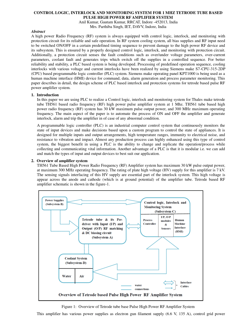 hight resolution of  pdf control logic interlock and monitoring system for 1 mhz tetrode tube based pulse high power rf amplifier system
