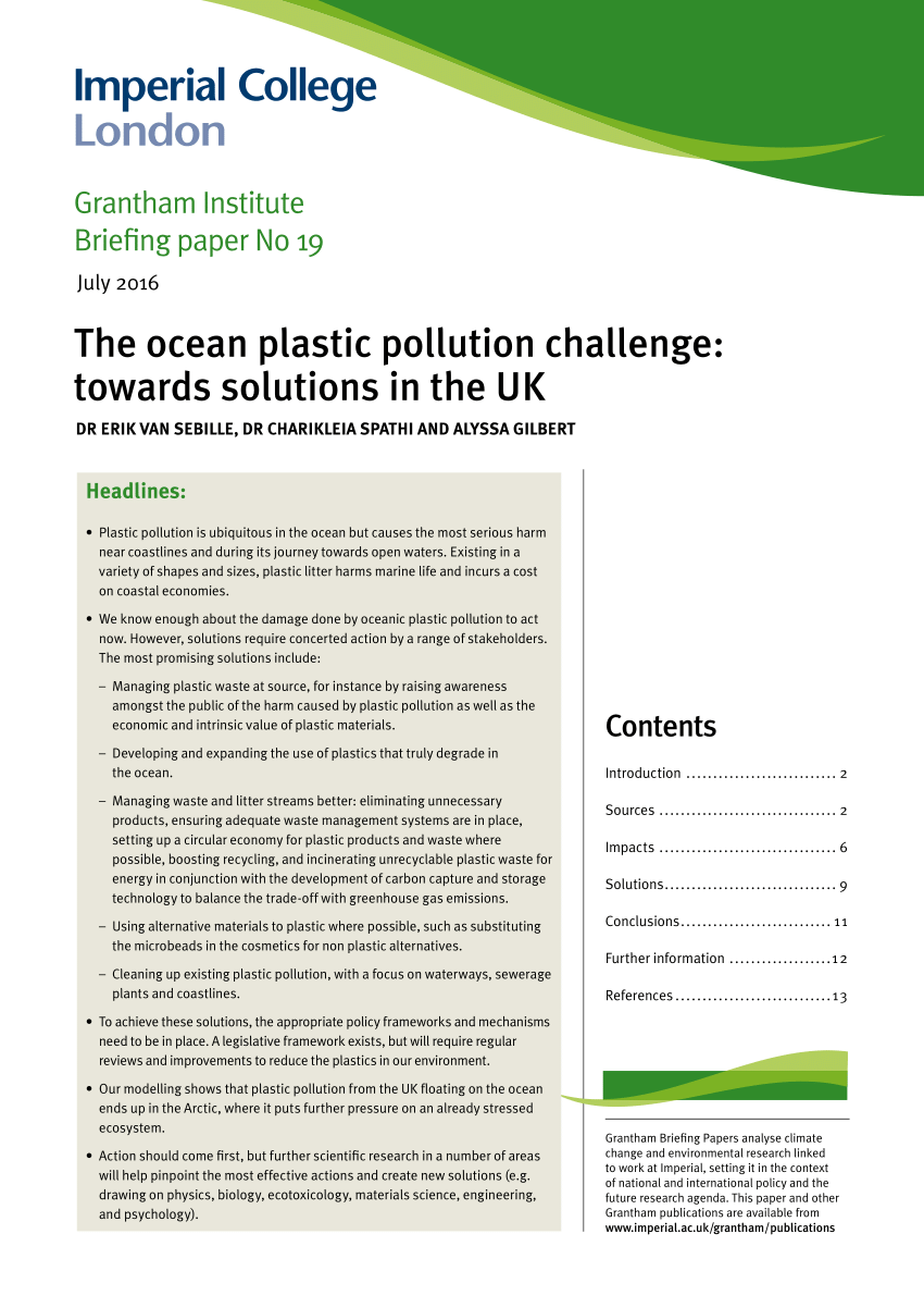 PDF The Ocean Plastic Pollution Challenge Towards