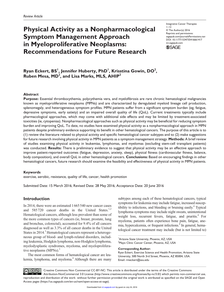 Physical Activity as a Nonpharmacological Symptom Management Approach in Myeloproliferative Neoplasms: Recommendations for Future Research (PDF Download Available)
