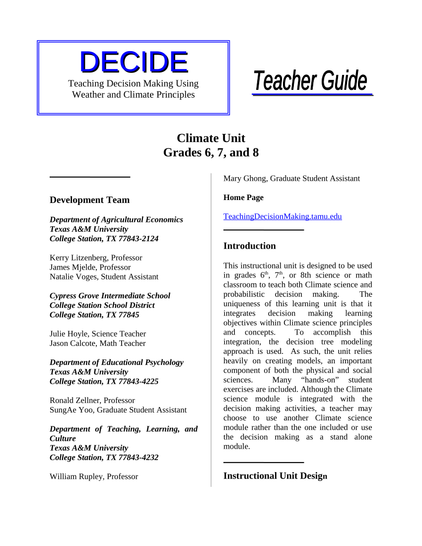 medium resolution of PDF) Teaching Decision Making Using Weather and Climate Principles: Climate  Unit Grades 6