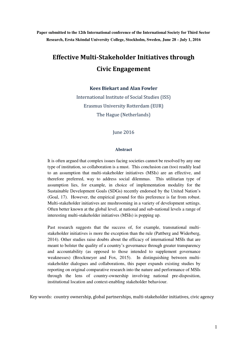 PDF Effective Multi Stakeholder Initiatives Through