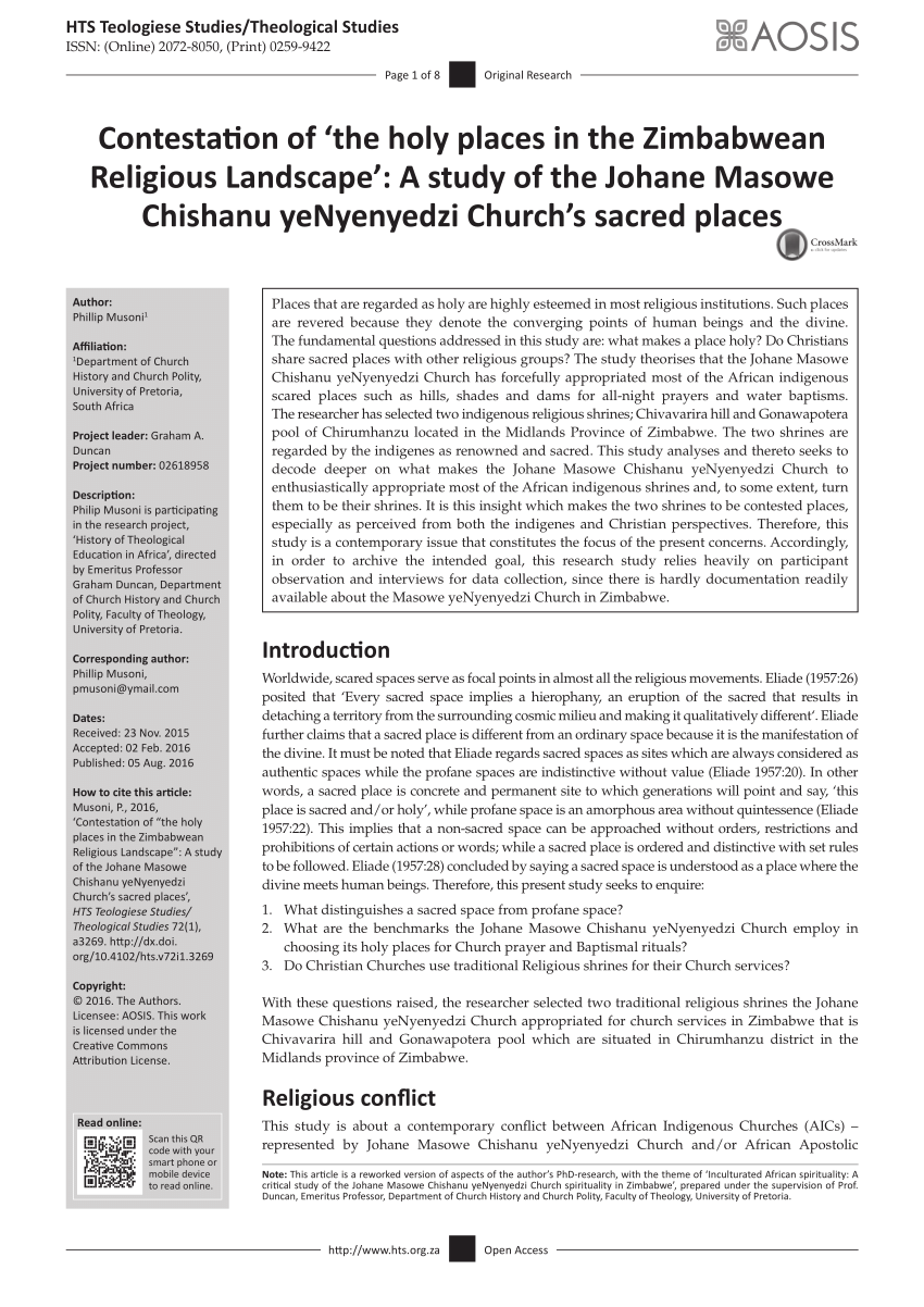 PDF Contestation Of 'the Holy Places In The Zimbabwean Religious