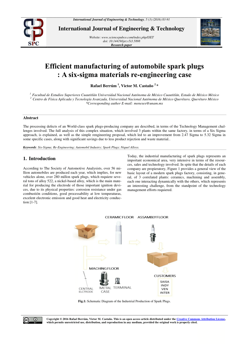 medium resolution of  pdf efficient manufacturing of automobile spark plugs a six sigma materials re engineering case