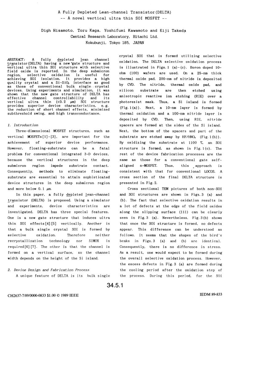 A La Verticale De Soi : verticale, Impact, Vertical, `DELTA', Structure, Planar, Device, Technology