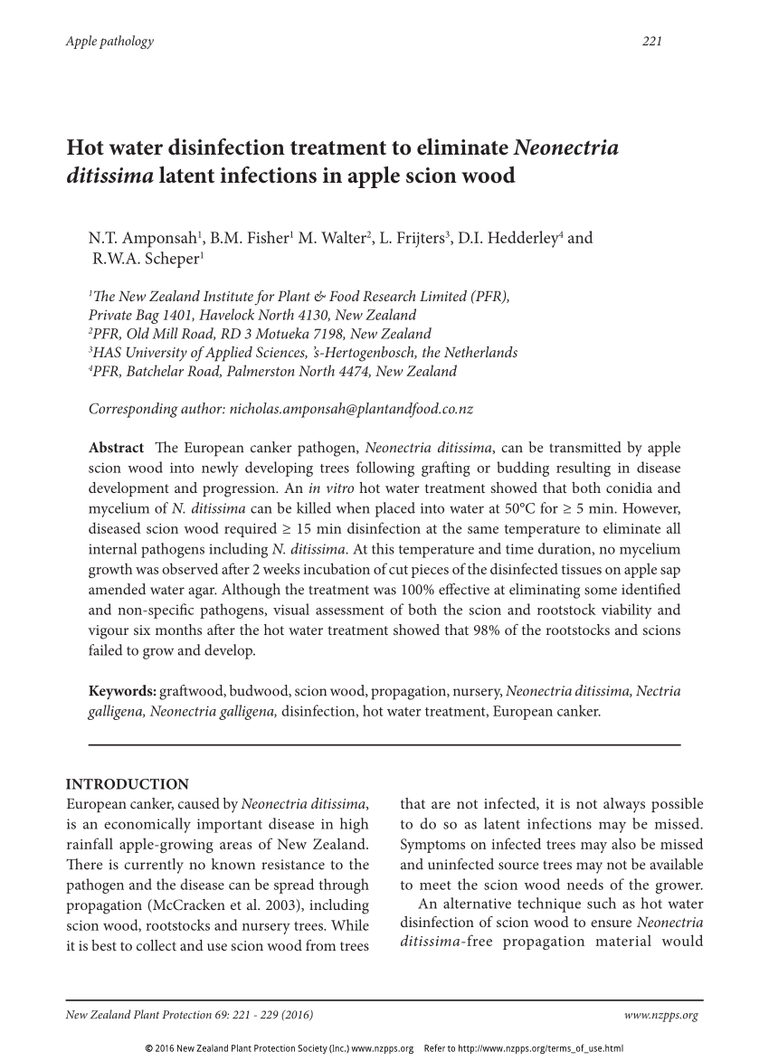 hight resolution of  pdf hot water disinfection treatment to eliminate neonectria ditissima latent infections in apple scion wood