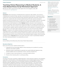 PDF) Teaching Clinical Reasoning to Medical Students: A Case-Based Illness  Script Worksheet Approach [ 1100 x 850 Pixel ]
