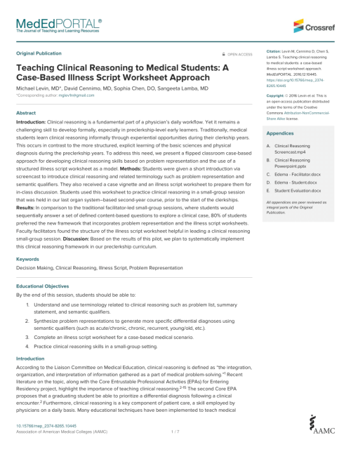 small resolution of PDF) Teaching Clinical Reasoning to Medical Students: A Case-Based Illness  Script Worksheet Approach