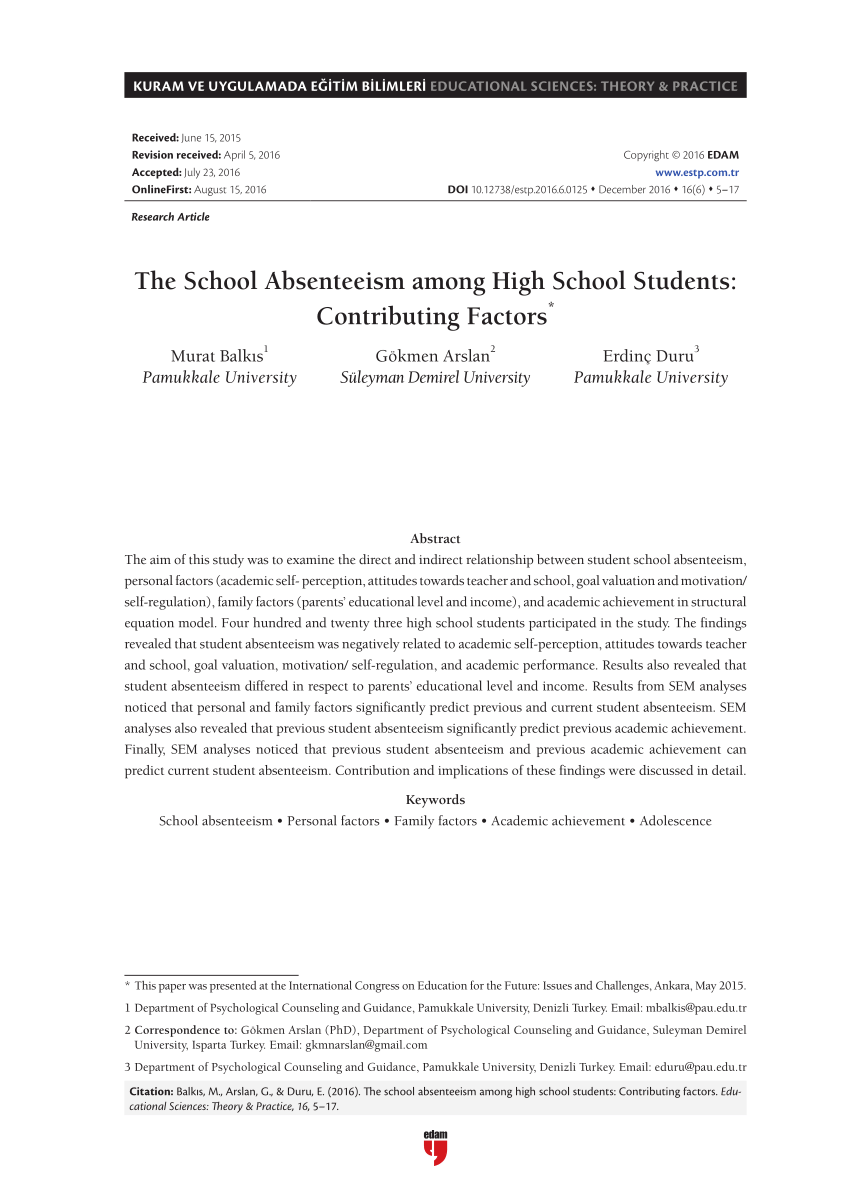 PDF The School Absenteeism Among High School Students Contributing