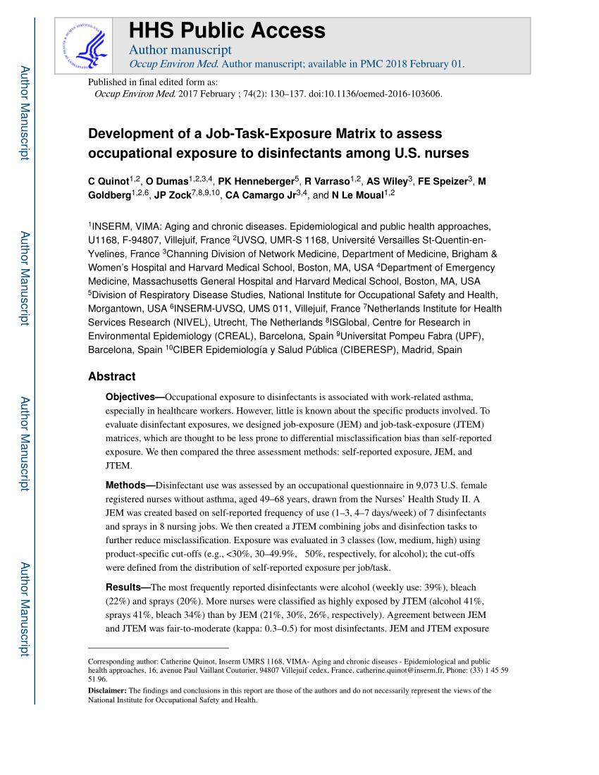 (Pdf) Development Of A Job-Task-Exposure Matrix To Assess Occupational  Exposure To Disinfectants Among Us Nurses