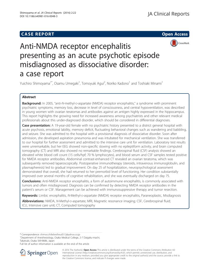 (PDF) Anti-NMDA receptor encephalitis presenting as an acute psychotic episode misdiagnosed as dissociative disorder: a case report